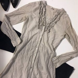 Joie Ruffle Front Button Down Silk Blend Tunic